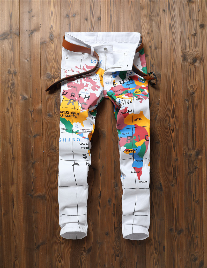 Men's   Jeans   Ripped Design Fashion Stretch Ankle Zipper Skinny   Jeans   for Men 2019 Spring Printed White Straight Pants G3P2