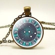 Стеклянный кабошон 12 созвездий ожерелье Овен Зодиак ручной