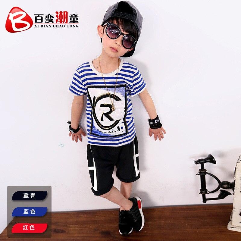 Boys T-shirt childrens striped short-sleeved shirt 2019 summer new cotton half-sleeved clothing