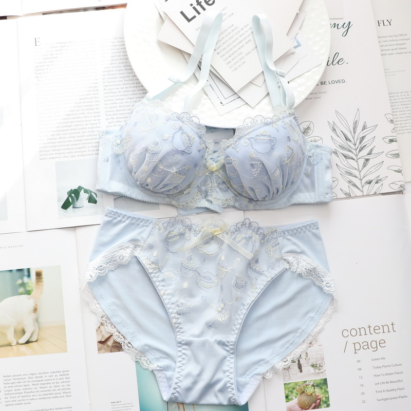 YOURMIX Lolita Style Cartoon magic lamp and Floral Embroidery Thin Cup Comfortable Lingeria Kawaii Bra and Briefs BCDE cup