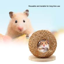 Wooden Hand-made Warm Sleeping House with Cushion for Pet Hamster(China)