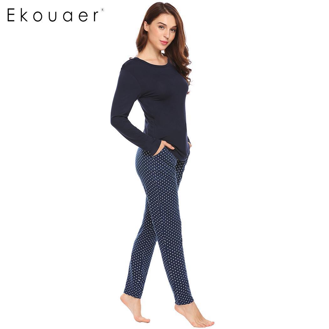 Ekouaer   Pajamas     Set   Women Nightwear Long Sleeve Shirts And Long Pants Loungewear Pyjama Female Two Piece Home Suit