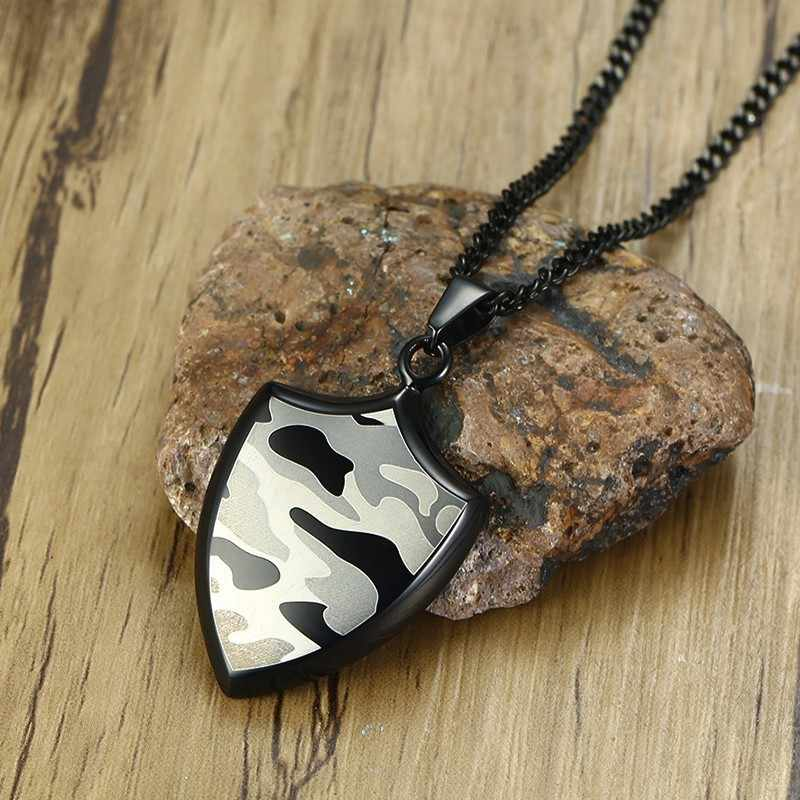 Stainless Steel Black and Army Camouflage Shield Pendant Necklace for Men Military Woodland Camo Male Jewelry 24 inch