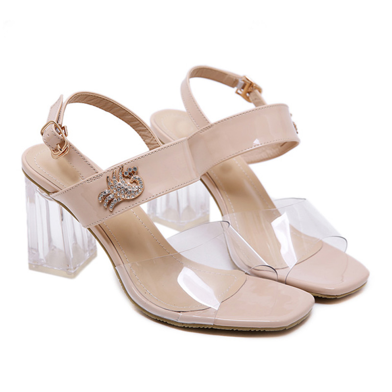 GBHHYNLH women shoes crystal pumps High Heels summer Sandals Female Transparent shoes clear Heels low heel womens shoes LJA595 in High Heels from Shoes