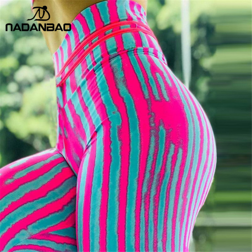 NADANBAO Sexy Push Up Sporting Women   Legging   line stripe 3D Print Fitness   legging   Workout legins High waist Plus Size
