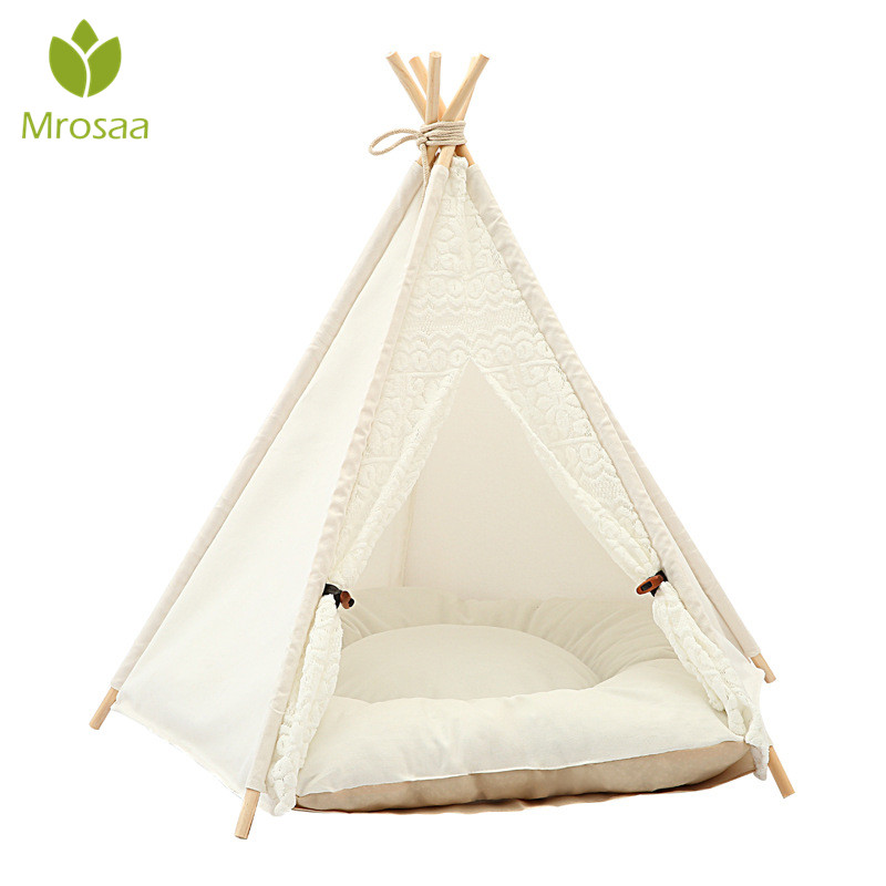 Mrosaa New White Lace Pet Tent Dog Cat House Beds Kennel house for Cats Sleeping Bag Nest Cave Bed with Cushion Mat Pet ProductMrosaa New White Lace Pet Tent Dog Cat House Beds Kennel house for Cats Sleeping Bag Nest Cave Bed with Cushion Mat Pet Product