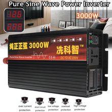 Инвертор 12 V/24 V 220V 2000/3000/4000W Напряжение трансформатор с немодулированным синусоидальным сигналом Мощность инвертор DC12V к переменному току 220V преобразователь+ 2 светодиодный Дисплей