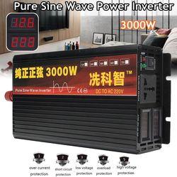 Inversor 12 V/24 V 220V 2000/3000/4000W transformador de voltaje inversor de potencia de onda sinusoidal pura DC12V a AC 220V convertidor + 2 pantalla LED
