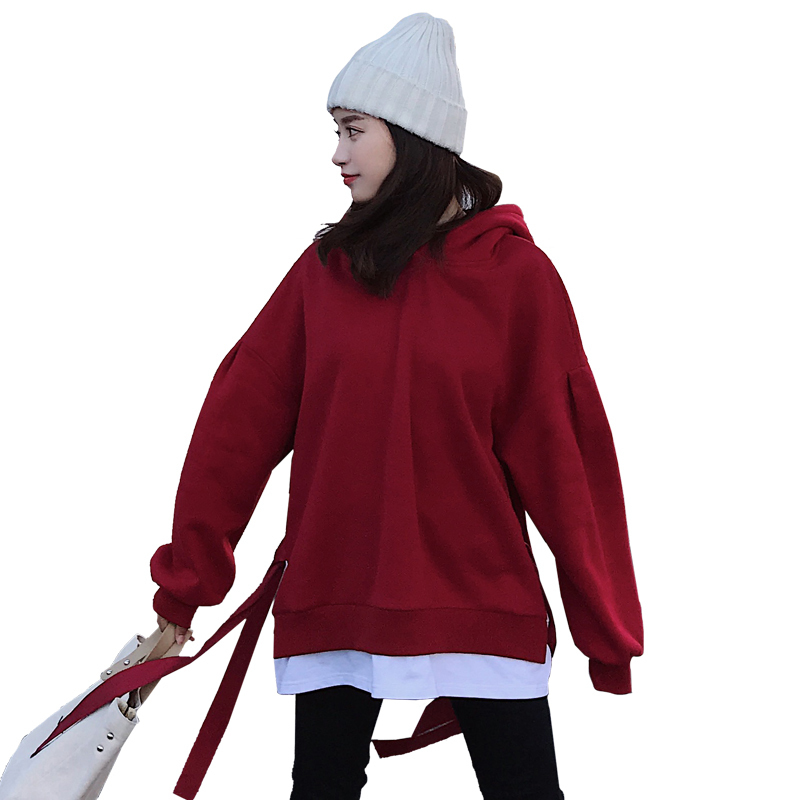 2019 Bandage Control False Two Paper red sweatshirt Routine Edition Increase Down Thickening coat hoodies women hood pullover in Hoodies amp Sweatshirts from Women 39 s Clothing