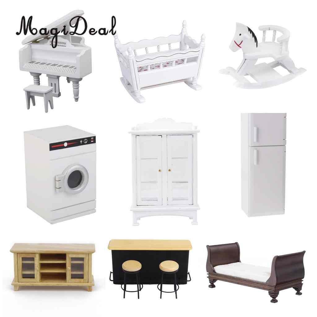 New arrival 1 12 dollhouse miniature modern furniture set accs for living room kitchen bedroom