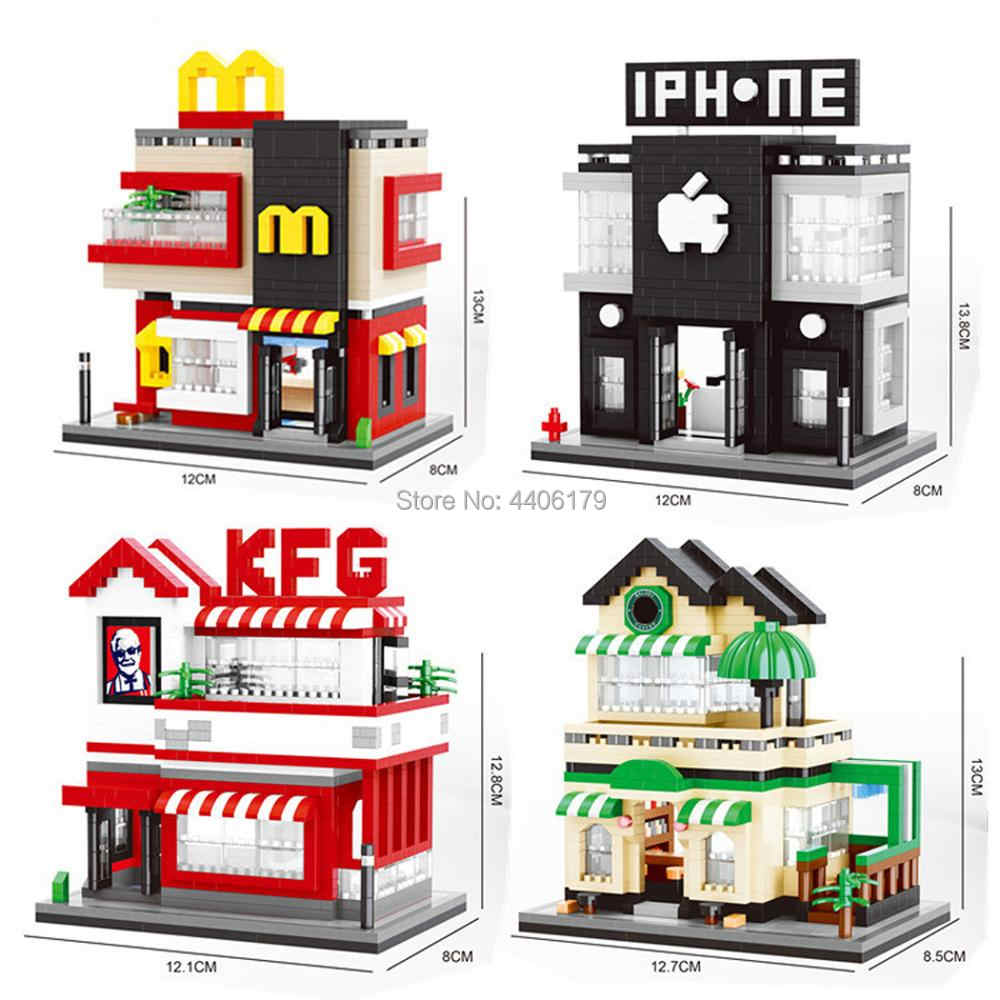 hot LegoINGlys creators city mini Street view McDonald apple store Famous coffee shop micro diamond building blocks toys gifts