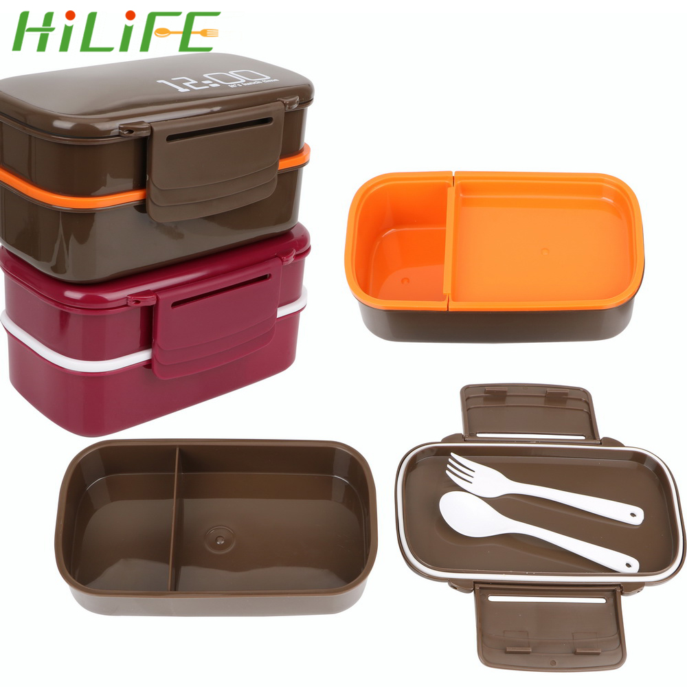 HILIFE 1400ml Lunch Box Large Capacity Double Layer BPA Free Lunch Food Container Box Microwave Fridge Safe with Spoon Fork|Lunch Boxes| |  - title=