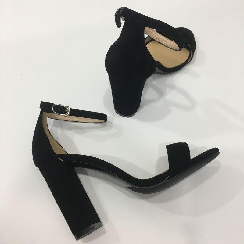 Blac Suede En Cuir À Bout Ouvert Nudiest Sandales Confort Bloc Talon Bande Étroite Celebrity Chaussures D'été Femmes