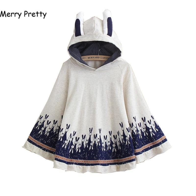 Frohe Ziemlich Mantel oberbekleidung frauen herbst kaninchen druck ohr stereo hoodies mantel baumwolle pullover poncho jacke mantel mit kapuze mantel