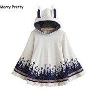 Merry Pretty Cloak outerwear women autumn rabbit print ear stereo hoodies coat cotton pullover poncho jacket cloak hooded coat