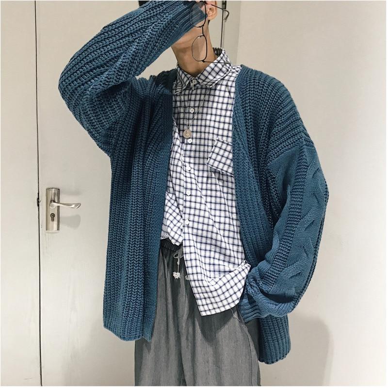 2018 Herbst Und Winter Neue Einfarbig Casual Einfache Strickjacke Pullover Männlichen V-ausschnitt Dicken Mantel Schwarz/blau/khaki M-2xl Strukturelle Behinderungen
