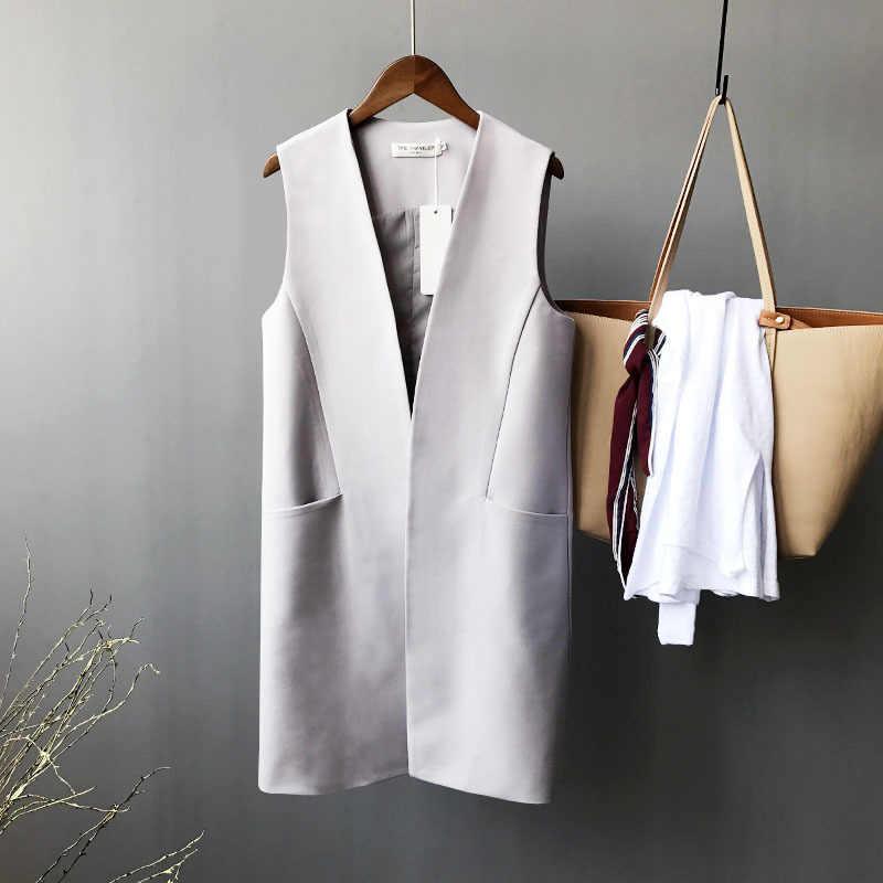 Женский Длинный жилет, Классический Серый Повседневный жилет без рукавов для офиса, весна-осень
