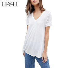 HYH Haoyihui Summer Pure Color Short Sleeve New Girl Simple Commuter V-neck Sexy Wide Hem T-shirt