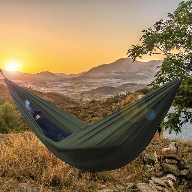 Nylon Double Person Hammock Adult Camping Outdoor Backpacking Travel Survival Hunting Sleeping Bed 4