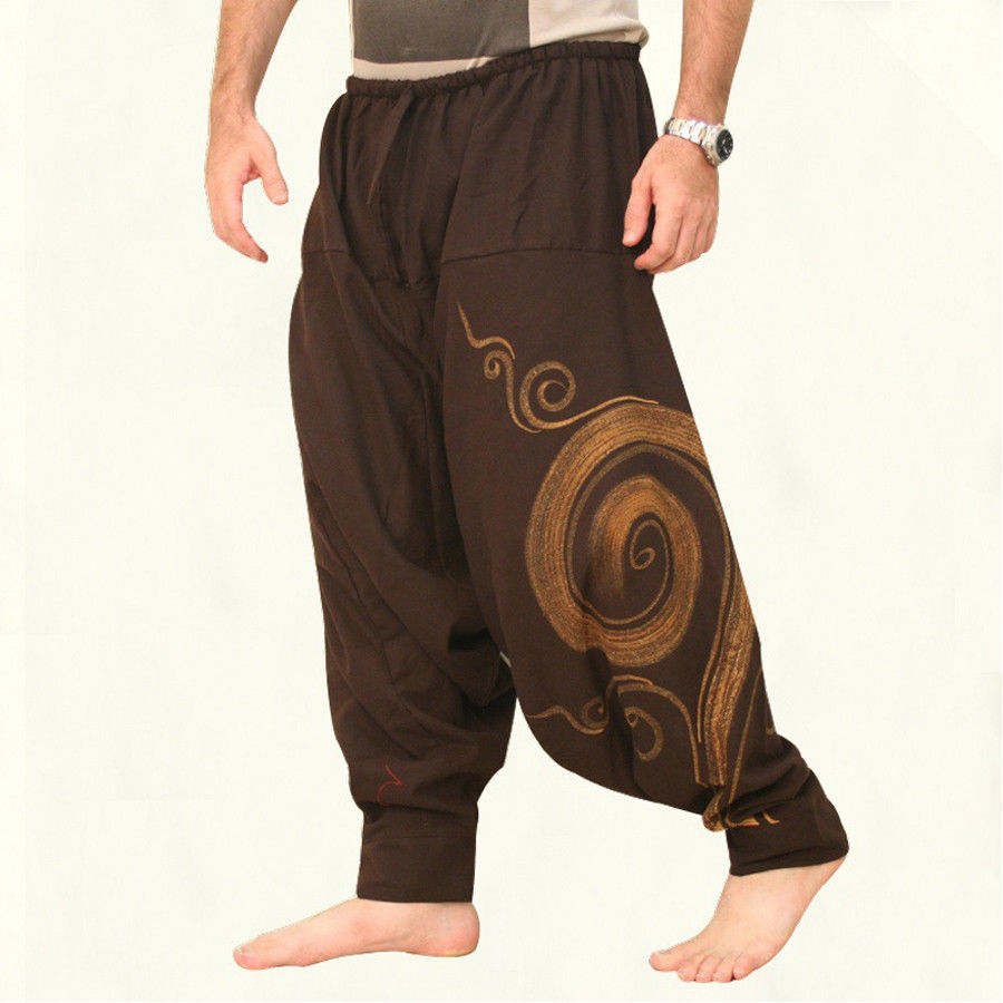 BYWX Men Relaxed Fit Floral Printed Sport Chinese Style Cotton Linen Retro Casual Pants Trousers