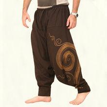 Мужские Ретро повседневные японские штаны хакама хиппи кросс-брюки свободные шаровары мешковатые спортивные штаны