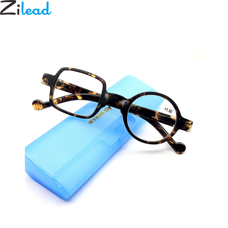 Zilead Retro Leopard Asymmetrical Round&Square Reading Glasses Women&Men Presbyopia Glasses Hyperopia Eyeglasses For Elder