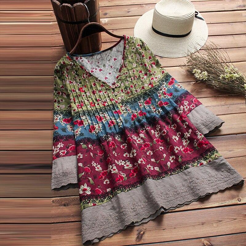 2018 las mujeres otoño blusa Vintage con cuello en V de 3/4 manga camisa mujer algodón Lino encaje Patchwork Boho Floral impreso Suelto blusas