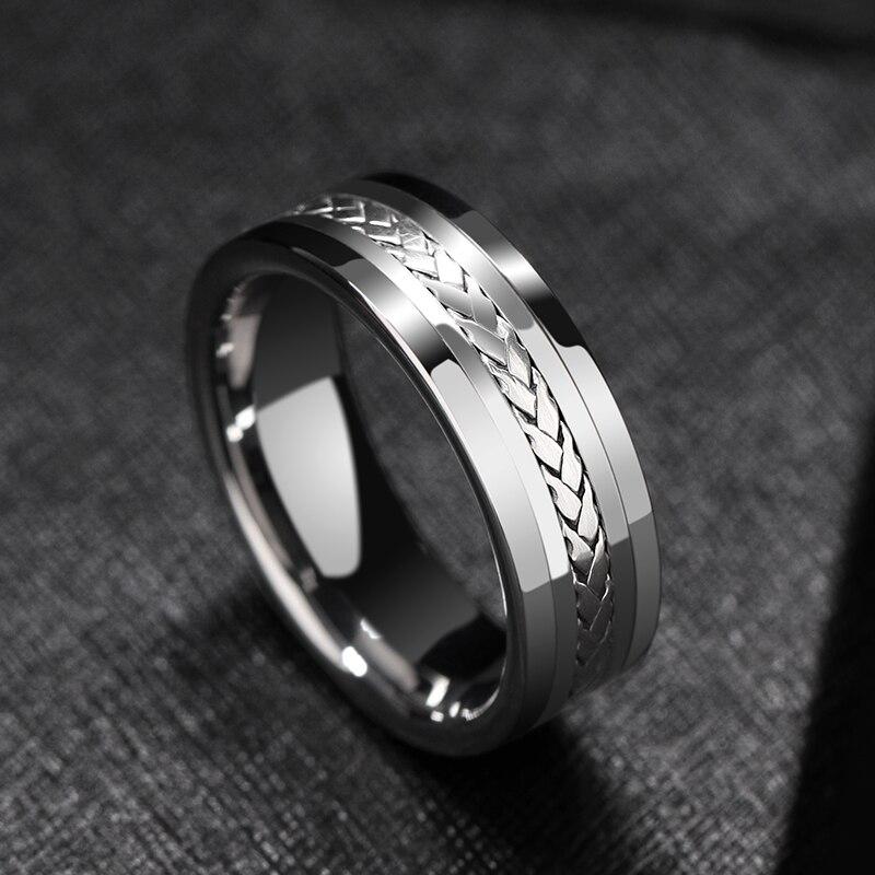 Gran venta de 7mm de ancho de alto pulido de carburo de tungsteno anillos de boda incrustaciones planas de plata Tamaño 7 12 comodidad apto para hombre-in Anillos from Joyería y accesorios    1