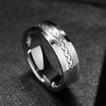 Hot Selling 7mm Width High Polished Tungsten Carbide Wedding Rings Flat Top Inlay Silver Size 7-12 Comfort Fit For Man