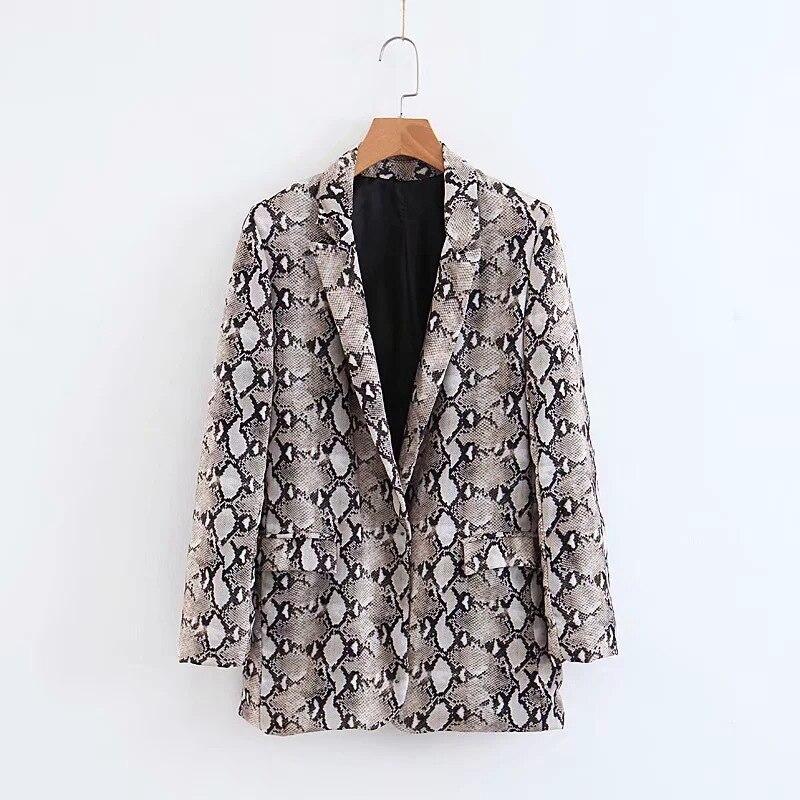 Women's Blazer 2019 Autumn New Women's Pop Snake Print Slim Long Sleeve Suit Ms. Jacket