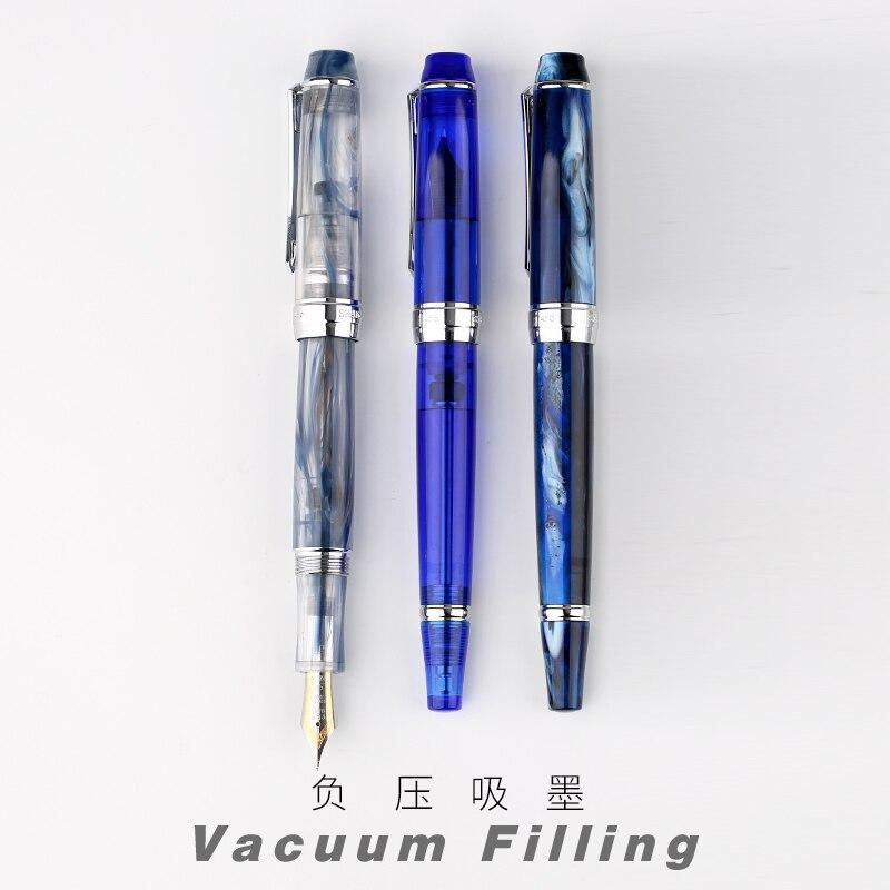 Penbbs 456 Vacuum Filling Fountain Pen Transparent Resin Bicolor Tip Daming Tip Pen