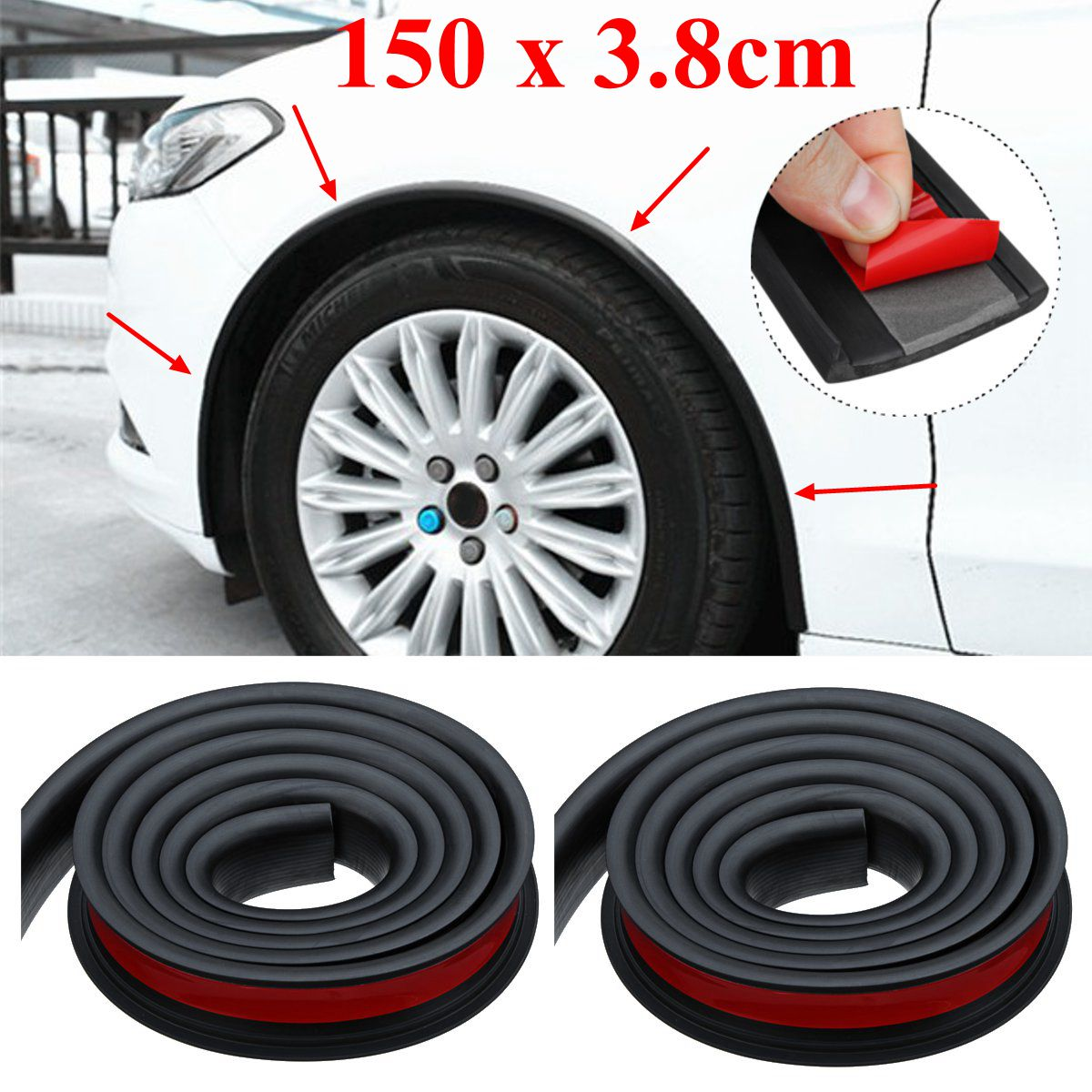 2x 1.5m Rubber Car Wheel Arch Protection Moldings Mudguard Trim Universal Black