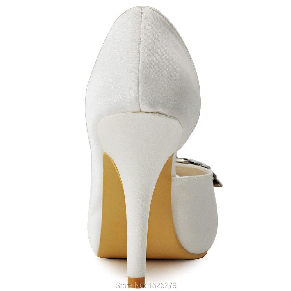 HP1552I femmes chaussures taille 7 ivoire mariée soirée fête D'orsay plate-forme à talons hauts cristal dames mariée demoiselle d'honneur chaussures de mariage - 5