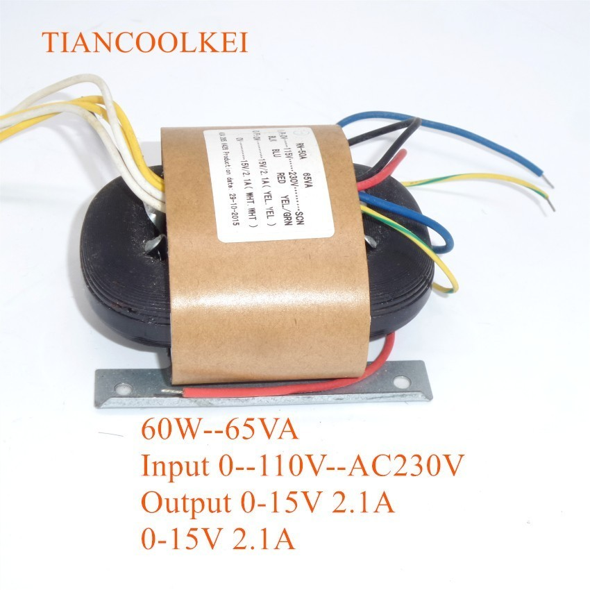65W 0-115V-230V R Type Power Transformer Conversion Dual 15V 2.1A HiFi Audio Transformer For Pre amplifier board