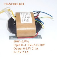 65W 0 115V 230V R Type Power Transformer Conversion Dual 15V 2.1A HiFi Audio Transformer For Pre amplifier board