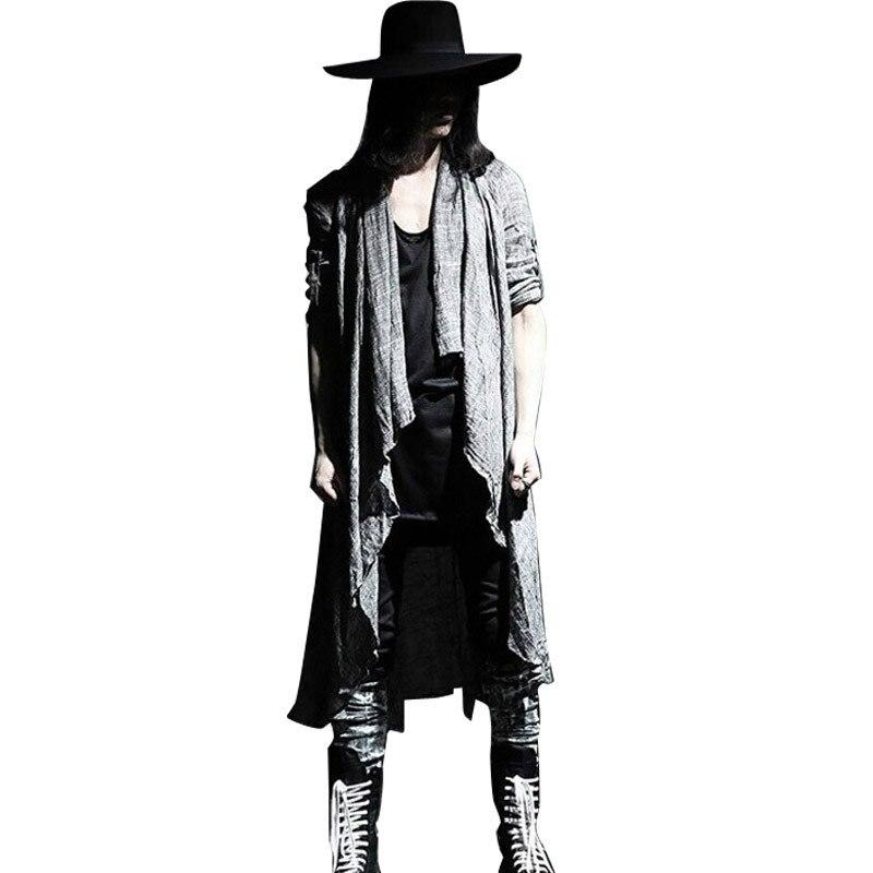 2018 hommes Vintage à manches longues Fine lin châle Cardigan manteau Style décontracté Pull Punk gothique Trencas veste longue veste