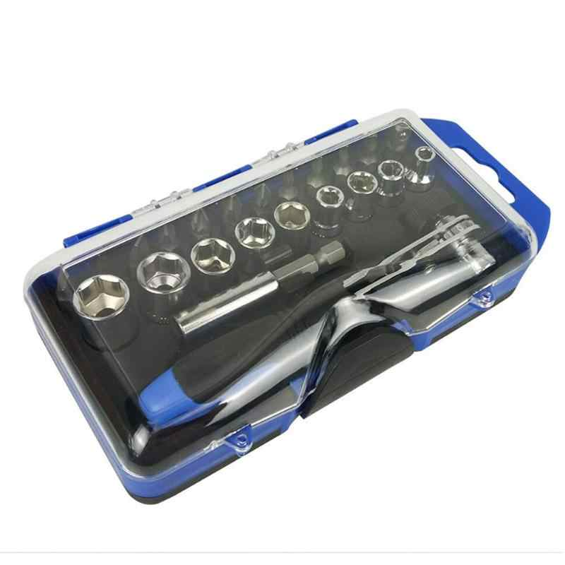 23/25pcs Sleeve Screwdriver Set Ratchet Wrench Socket Spanner Drill Combination Kits for Car Bike Rapid Repair Tool