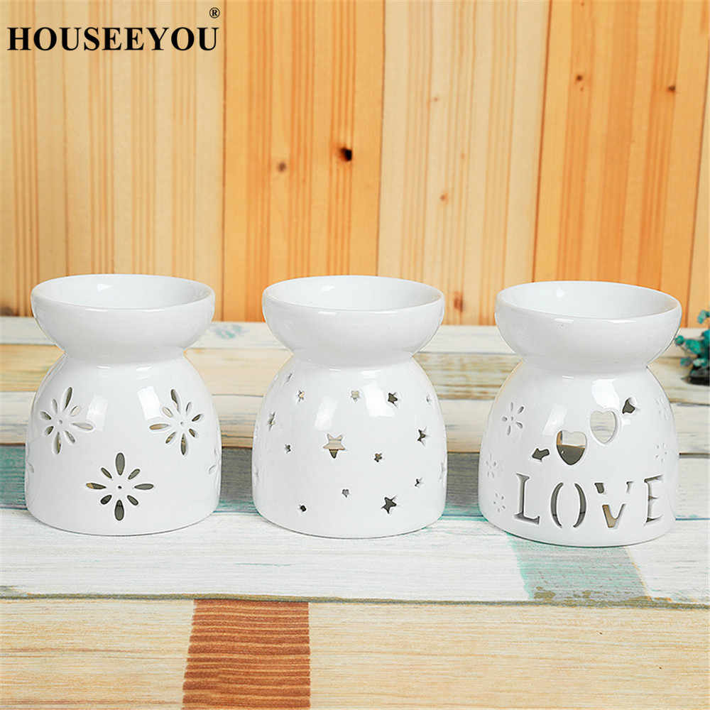 Mini Love Heart Ceramic Aroma Burner Essential Oil Lamp Hollowing Candle Holder Incense Censer Aromatherapy Furnace Candlestick