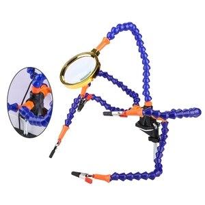 Image 5 - Manos de ayuda herramienta de soldadura de tercera mano 6 brazos flexibles Estación de soldadura de cinco brazos con vidrio de aumento, abanico para RC Dr