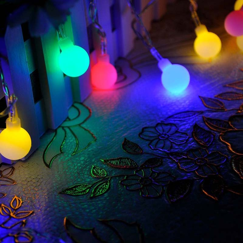 10m 50 Balls LED Christmas Lights Outdoor New Year Garland LED Christmas Fairy Lights Luces De Navidad Party Wedding Decorations