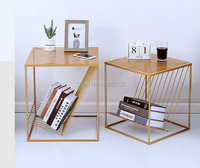 Nordic golden wrought iron coffee table simple geometric square side living room sofa side cabinet corner several bedroom bed