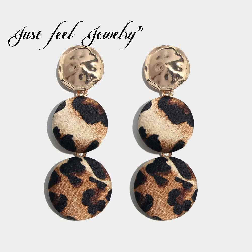 JUST FEEL Punk Leopard Long Dangle Earrings For Women Bold Fashion Round Statement Boho Gold Color Vintage Drop Earring Jewelry
