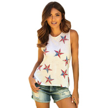ecc881304277 2018 Summer EBay Amazon Explosion Models Printed Sleeveless Vest Pullover  Ms Bottoming Shirt Top T-