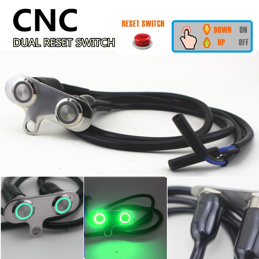 Universal CNC Motorcycle Handlebar Switch with Green LED Waterproof Horn Engine Start Kill Dual Button Self-return Reset