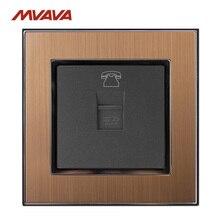 MVAVA RJ11 TEL Outlet Telephone Jack Plug Port Wall Socket TEL Receptale Luxucy Gold Satin Metal Panel Free Shipping tel 06 1m wh