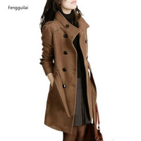 2018 New Women Trench Woolen Coat Winter Slim Double Breasted Overcoat Winter Coats Long Outerwear for Women Plus Size Coat