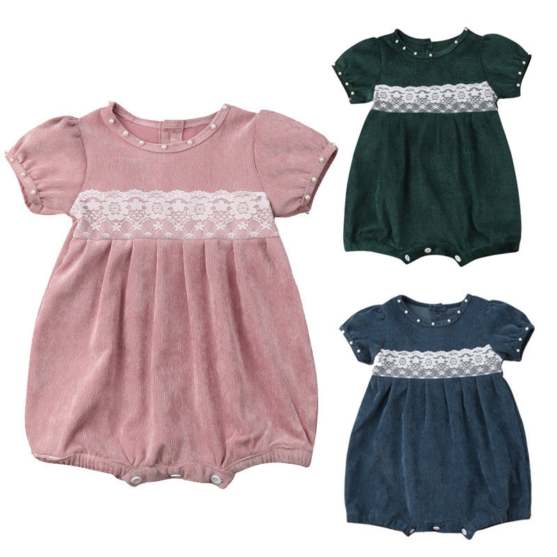 Cute Newborn Baby Girl Short Sleeve Lace Velvet Romper Jumpsuit Outfits Princess Girls Clothes