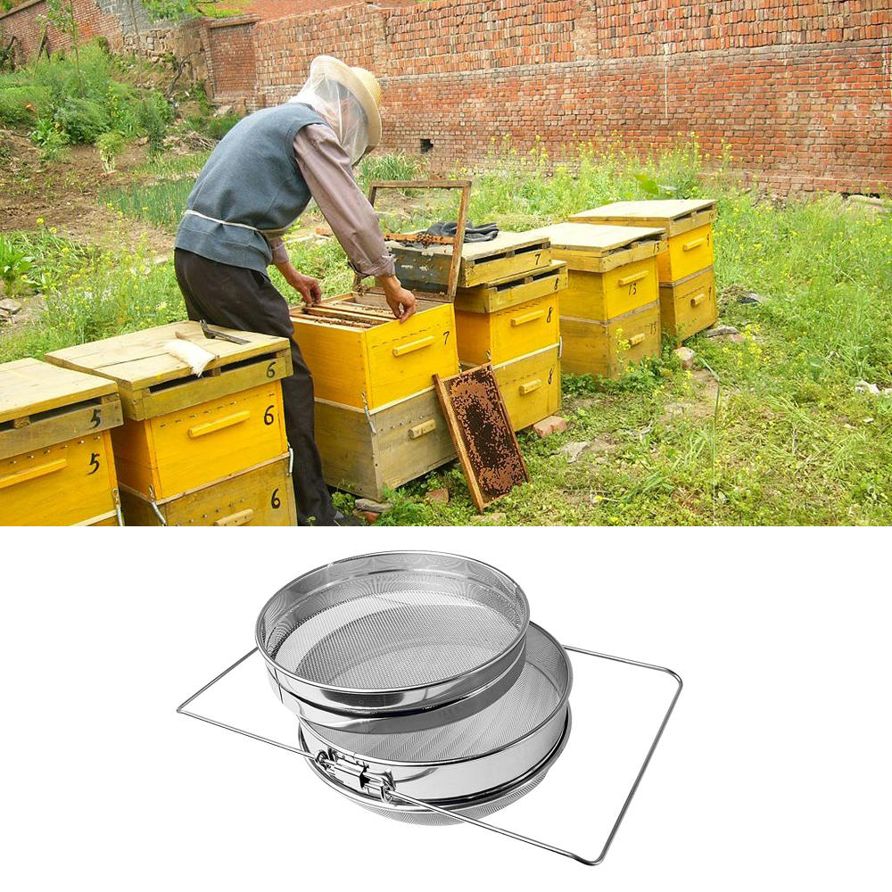 1 pc Honey Filter Stainless Steel High Heat resistant Safe Double Layer Sieve Honey Strainer Filter Screen Beekeeping Filter
