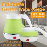 680W Foldable Electric Kettle Silicone Automatic Power off Travel Camping Portable Water Boiler Adjustable Voltage Home