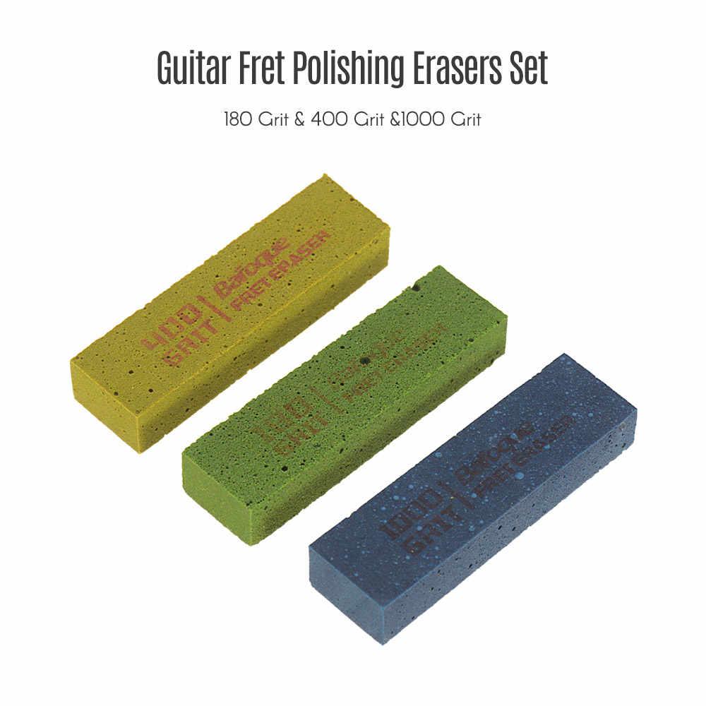 Gitar Polishing Penghapus Abraisive Karet Blok untuk Polishing Kawat 180/400/1000 Grit Set 3 Pcs Gitar Alat kit